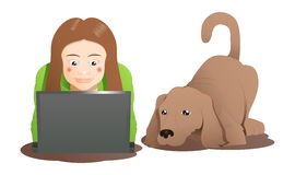 a brown dog and a woman learning laptop Royalty Free Stock Images