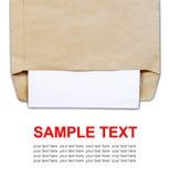 Brown-Dokumentenumschlag mit Papier Lizenzfreie Stockbilder