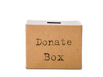 Brown donate box isolated on white. Royalty Free Stock Photo