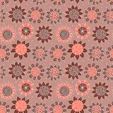 Brown doodle seamless flower pattern Royalty Free Stock Image