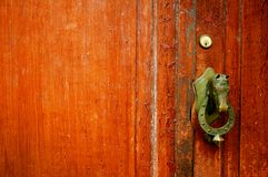 Brown door with bronze horse head doorhandle royalty free stock image