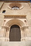 Brown door of cathedral at Lleida city Royalty Free Stock Image