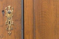Brown_door_golden_key_ornament-2 免版税库存图片