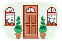 Brown door with shrubs. Nice entrance to a house decorated with plants Stock Illustration
