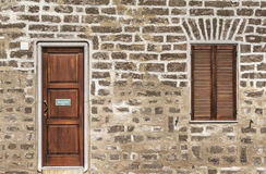 Brown door and window Stock Photos
