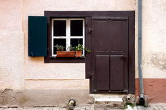 Brown door and window Stock Photo