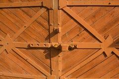Brown doors and original lock Royalty Free Stock Photos