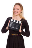The brown dress girl holding clapperboard isolated Stock Image