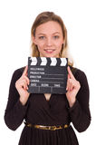 The brown dress girl holding clapperboard isolated Royalty Free Stock Photo