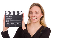 The brown dress girl holding clapperboard isolated Royalty Free Stock Images