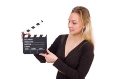 The brown dress girl holding clapperboard isolated Stock Photography