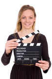 The brown dress girl holding clapperboard isolated Royalty Free Stock Image