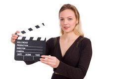 The brown dress girl holding clapperboard Royalty Free Stock Photos