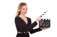 Brown dress girl holding clapperboard isolated on Stock Photo