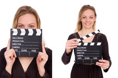 The brown dress girl holding clapperboard isolated on white Royalty Free Stock Photography