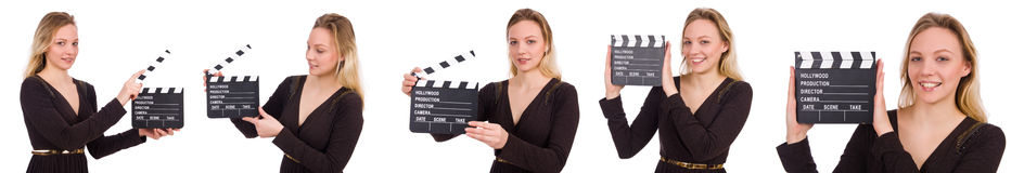 The brown dress girl holding clapperboard isolated on white Stock Photo