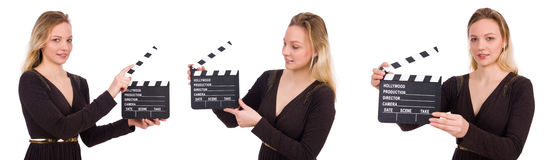 The brown dress girl holding clapperboard isolated on white Stock Image