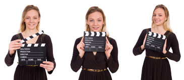 The brown dress girl holding clapperboard isolated on white Royalty Free Stock Images