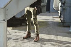 Brown Dress Pants and Brown Boots Stock Image