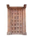 Brown Drewniany drzwiowy antyczny odosobniony na białym tle Fotografia Royalty Free