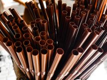 Brown Drinking straw.soft focus. royalty free stock images