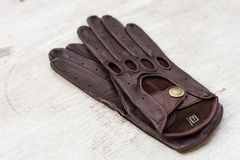 Brown driving gloves Royalty Free Stock Photography