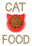 Brown dry cat or dog food in red bowl isolated on white backgrou Royalty Free Stock Image