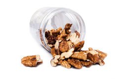 Brown dry walnuts as organic healthy bio nuts food Royalty Free Stock Photo