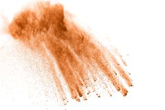 Brown dust cloud.Brown particles splattered on white background royalty free stock photos