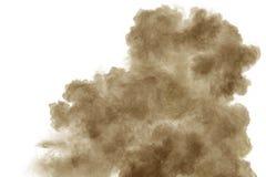 brown dym na bia?ym tle Brown pyłu cząsteczka exhale w powietrzu zdjęcie royalty free