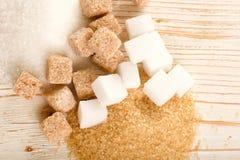 Brown e açúcar branco Imagens de Stock