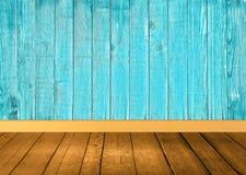 Brown e fondo di legno blu Fotografie Stock Libere da Diritti