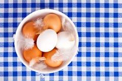 Brown e ovos brancos, penas em uma bacia Fotografia de Stock Royalty Free