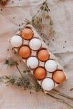 Brown e ovos da páscoa brancos Fotos de Stock Royalty Free