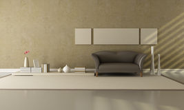 Brown e sala de estar bege Imagens de Stock