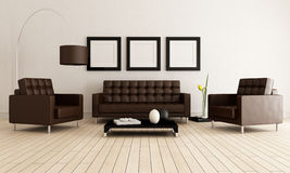 Brown e sala de visitas branca Imagem de Stock