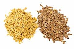 Brown e seme di lino dorato Fotografia Stock Libera da Diritti
