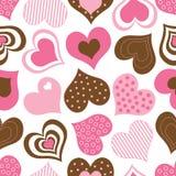 Brown e teste padrão cor-de-rosa dos corações Foto de Stock Royalty Free