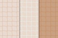 Brown e testes padrões sem emenda geométricos brancos Fotografia de Stock