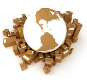 Brown Earth globe packages America Royalty Free Stock Photo