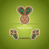 Brown easter bunny wishing card Royalty Free Stock Images