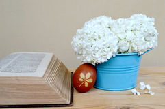 Brown Easter egg, old book and spring flowers Stock Photography