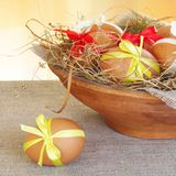 Brown Easter Eggs In Nest Bowl Royalty Free Stock Photo
