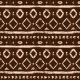 Brown ed il bianco hanno invecchiato il modello senza cuciture di lerciume azteco geometrico, vettore Fotografia Stock