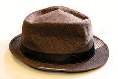 Brown ed il nero Fedora Hat a strisce Fotografie Stock Libere da Diritti