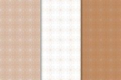 Brown ed insieme di bianco dei modelli senza cuciture geometrici Fotografie Stock Libere da Diritti