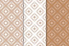 Brown ed insieme di bianco dei modelli senza cuciture geometrici Immagini Stock