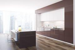 Brown ed interno originale bianco della cucina, sottotetto royalty illustrazione gratis