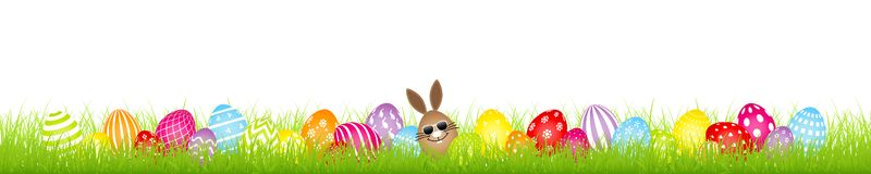 Brown Egg Bunny Sunglasses And Twenty Eight Colorful Easter Eggs Meadow Banner stock illustration