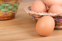 Brown Egg With Easter Baskets Stock Images